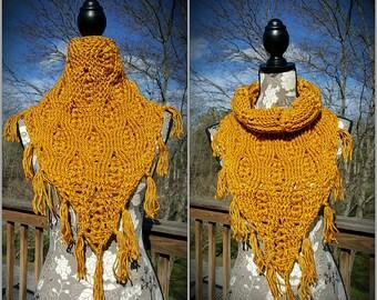 Golden Wheat Crochet Fringe Cowl