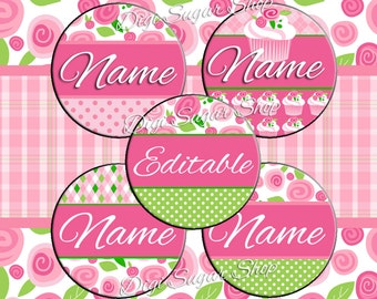 Floral Cupcake Editable (Customizable) One Inch Bottle Cap Images - JPG Format - We customize or DIY!!