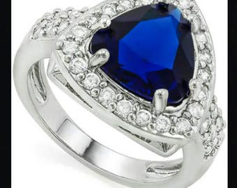 Beautiful Blue And White Stones, 14k White Gold Filled Ring