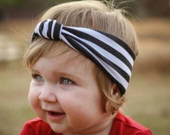 Striped knot headband/ baby headband/ toddler headband/ newborn headband/ girl headband/ turband knot headband/ black and white headband