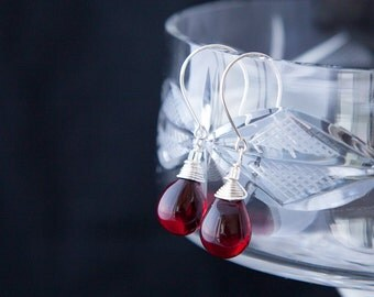 Wine Red Earrings, Sterling Silver Wire Wrapped Earrings, Red Crystal Drops, Red Drop Earrings, Wine Red Jewelry, Red and Silver Earrings