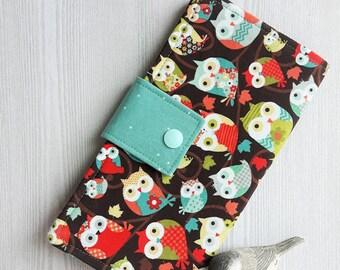 Little Owls Women's wallet, bifold handmade wallet, slim clutch wallet, credit card, checkbook, womans fabric wallet, gift idea