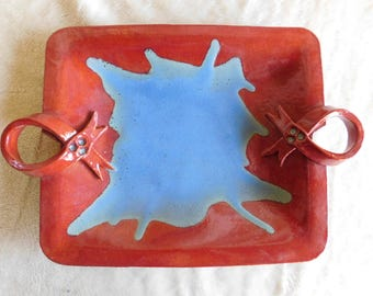 Red and Blue Ceramic Platter with Handles