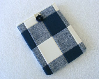 "IPad Mini Cover Sleeve, Kindle Fire Sleeve Cover, Nook Sleeve Cover,  Quilted Navy Blue and White Plaid, 8 1/2""x 6 1/2"""