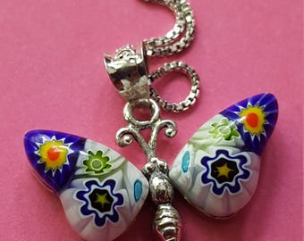 Millefiori Glass Butterfly 925 Necklace