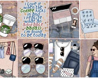 Coffee makes me Badass Weekly Planner Kit