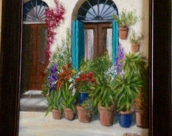 "Original painting, oil on canvas board. Title- ""Doorway in Lucca"""