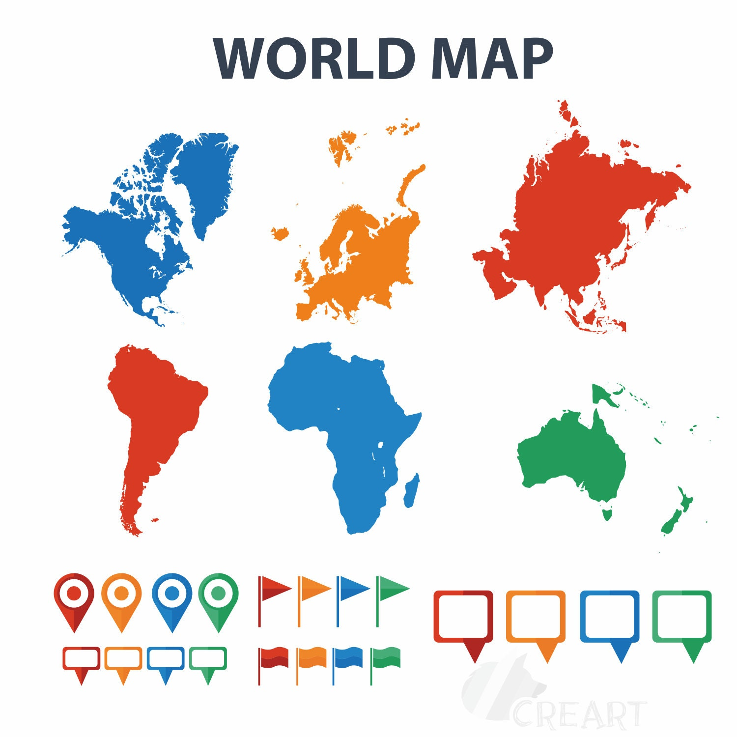 World map with pins flags textbox clip art silhouette for this is a digital file gumiabroncs Choice Image