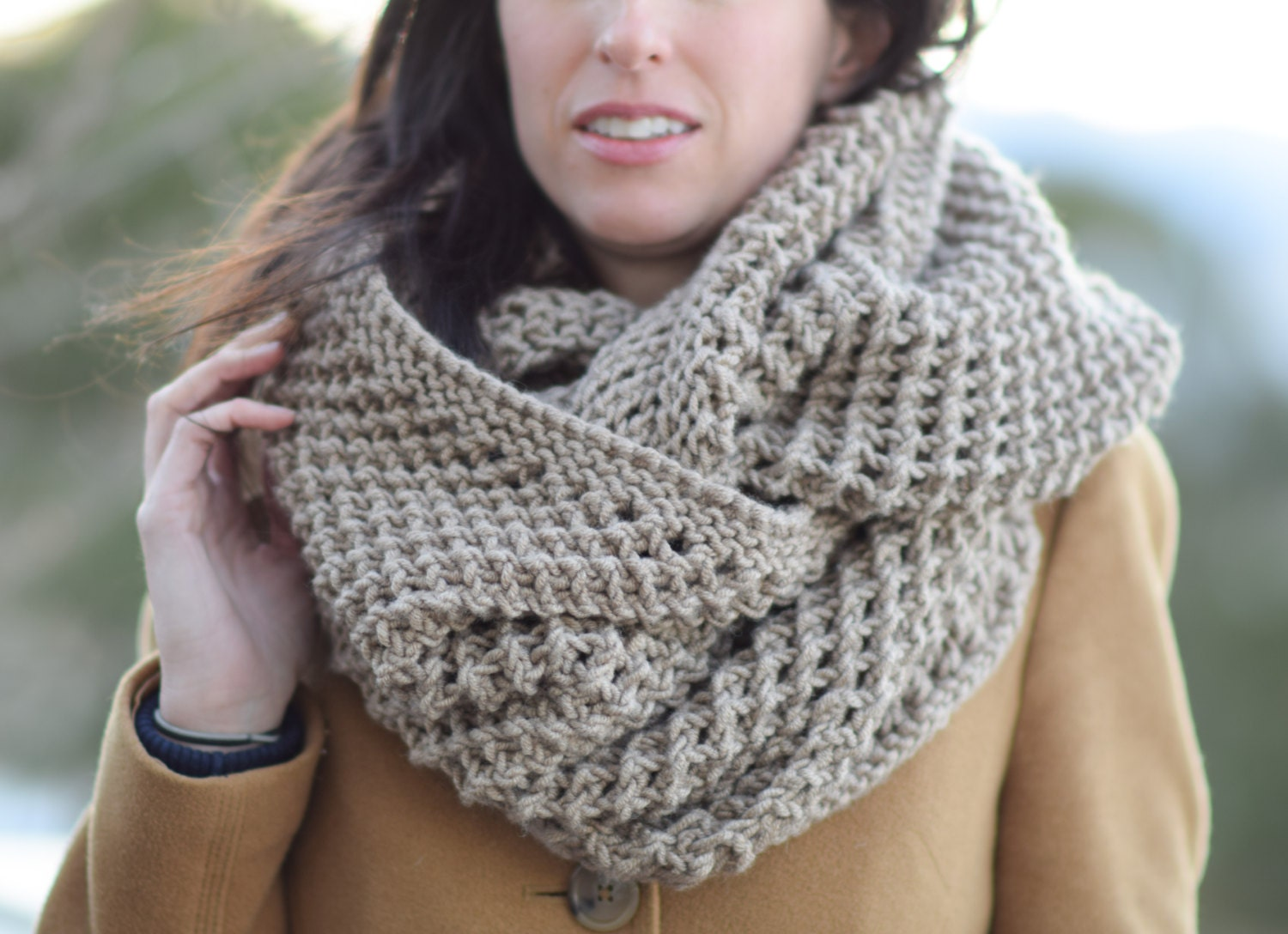Knitting Pattern For Beanies : Big Knit Scarf Knit Infinity Scarf Pattern Bulky Knitting