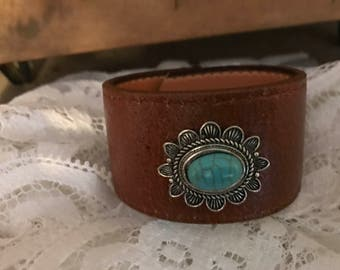 Upcycled  Brown Cuff Bracelet with Turquoise and Silver Bead
