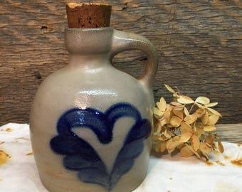 Vintage Handmade Stoneware Jug/Cork Stopper/Glazed/Pottery