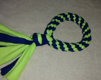 Fleece dog toy-dog tug toy-in neon green and royal blue fabric