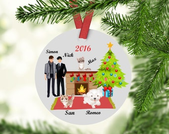 Custom Family Ornament - Family Christmas Ornament - Gay Couple Ornament - Dog Ornament - Cat Ornament - Family with pets Ornament