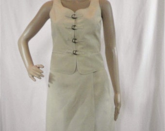 "Vintage ""The Limited"" Silk Linen Skirt Vest Set - Size 2"