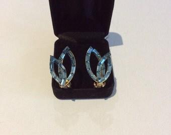 Blue Baguette Clip-On Earrings
