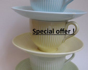 3 Rorstrand Cup and saucer, green, yellow and blue pastel tint (Kolorita), made in Sweden.