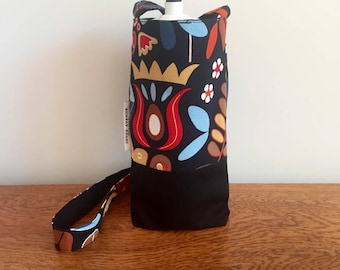 Handmade Fabric Water Bottle Bag, Drink Bottle Holder, Drink Bottle Carrier for hiking or walking, reversible