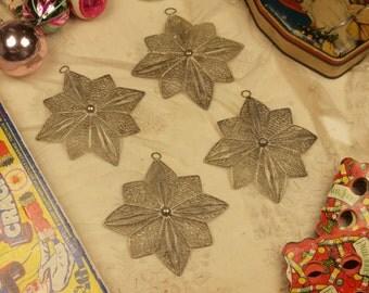 Vintage metal wirework Christmas tree star ornaments