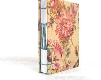 A6 floral print handbound Coptic stitch notebook (11x15 cm)