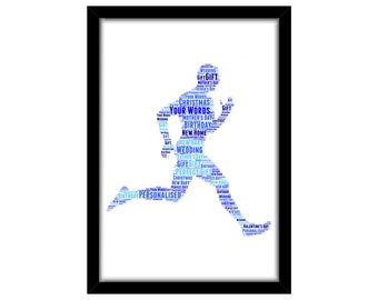 PERSONALISED Running Man Word Art Wall Print Gift Idea Birthday For Him Runner Athlete Marathon Sprint Jog Jogging Triathlon Dad PG0942