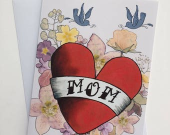 Vintage Tattoo Mothers Day Card - A5
