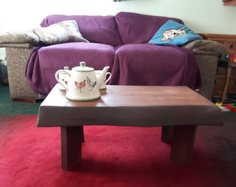 Live / Waney Edge, Rustic, Solid Wood Slab Coffee Table - Wild Cherry