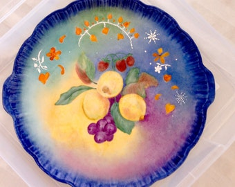 Tray blue with lemons and fruit