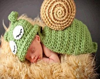Newborn Snail Crochet Photography Prop Outfit