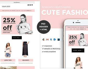 Fashion Email Template / Ecommerce Email Template / Mailchimp editable Template / Cute Email Newsletter / Html Email Template