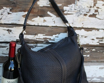 SALE Black Soft Woven Italian Leather Hobo Bag