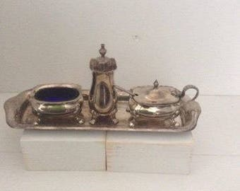 White Metal EPNS Vintage Cruet Set with Liners and tray