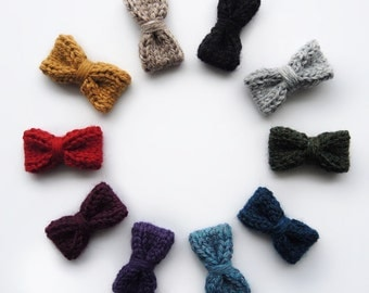 "BITSY WOOL BOW, 1.5"" mini bow, toddler bow, baby bow, hair clip"