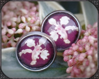 Stainless steel earstuds Red Orchid