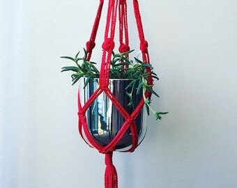 ON SALE 20% OFF! Red Nylon Rope  Macrame Plant Hanger. **