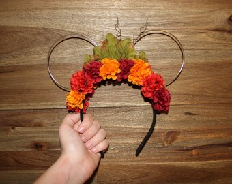 Autumn Fall Wire Minnie Mouse Ears