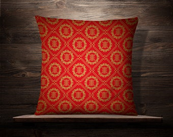Red And Gold Asian Art Pattern | Asian Throw Pillow | Chinese Pillow | Japanese Pillow | Asian Throw Pillow | Asian Decor | Kimono | Cushion