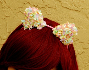 Floral Cat Ear Headband | Flower Kitty Ear Headband -- Pastel Rainbow