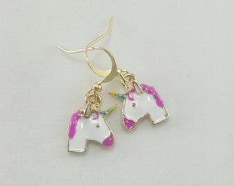 Unicorn Earrings, Rainbow Unicorn Earrings, Unicorn Jewelry, Unicorn Emoji Earrings, Clearance Earrings, Discounted Earrings