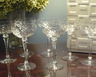 Set of 7 Gorgeous Vintage Cut Glass Champagne