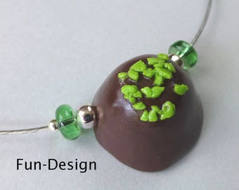 """Choker """"Chocolate with Pistachio slivers"""""""