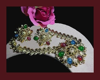 Rare Vintage Jewels of India necklace earrings. Signed TRIFARI