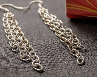 Chain earrings, dangle earrings, long dangle earrings, simple earrings, everyday earrings, Bohemian earrings, Handmade jewellery