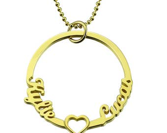 Personalized Circle of Love 2 Name Pendant Heart Necklace for Couple