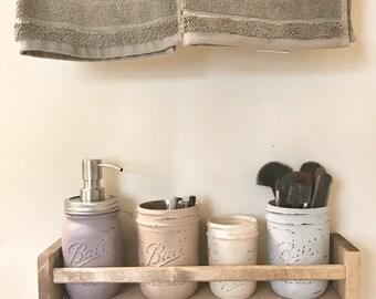 Mason Jar Bathroom Organizer, mason jar bathroom set, mason jar wall decor, Bathroom Storage
