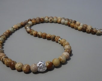 Mens beaded necklace - jasper, sterling beads and clasp - 925 sterling silver - Boho - mens jewelry - gemstone mens necklace