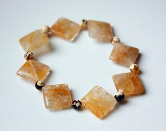 Citrine and Amber Chips in Resin Beaded Stretch Bracelet
