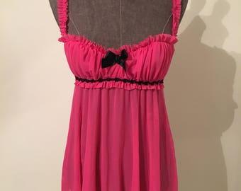 Vintage hot pink Fredericks of Hollywood chiffon top. Sheer and feminine.