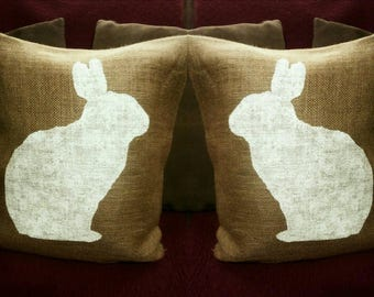 Burlap Easter Pillow, Rabbit Pillow, Easter Bunny Pillow, Easter Decor, Easter Pillow, Burlap Pillow, Burlap Decor, Happy Easter, Rabbit