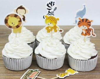 Safari Animals Cupcake, Cake Toppers (12)