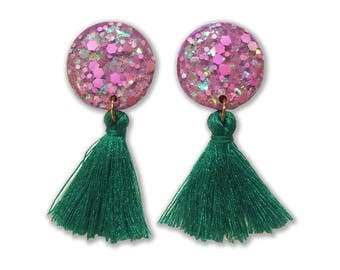 Mermaid Tales - Statement Earrings - Clip On Tassel Earrings - Tassel Earrings - Green Earrings - Mauve/Purple earrings - Lual Boutique